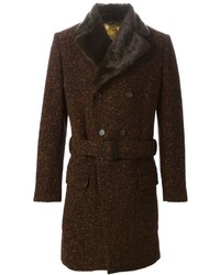Vivienne Westwood Man Fur Trimmed Collar Double Breasted Coat