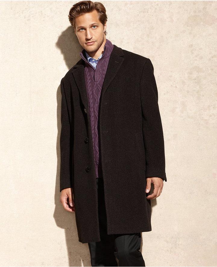 fca1c162bb1c ... Calvin Klein Plaza Brown Twill Wool Blend Overcoat ...