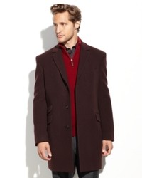 Tommy Hilfiger Coat Cashmere Blend Overcoat Trim Fit