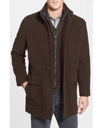 Cole Haan Wool Blend Topcoat With Inset Bib