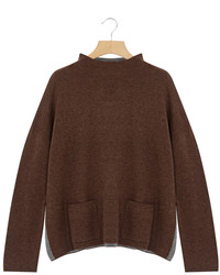 Brown oversize mock neck wool blend pullover medium 6870258