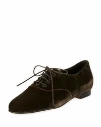 Manolo Blahnik Pruneta Velvet Lace Up Oxford