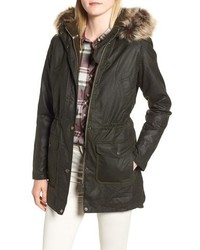 Barbour Waxed Cotton Coat With Faux Hood
