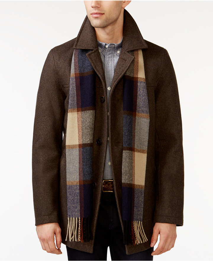 Tommy Hilfiger Big Tall Melton Peacoat, Tommy Hilfiger Peacoat With Scarf