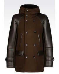 Emporio Armani Hooded Pea Coat In Leather And Knit