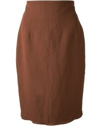 Dark Brown Pencil Skirt