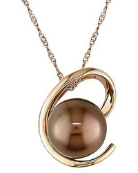 Allura 85 9mm Brown Tahitian Pearl Pendant Necklace In 14k Pink Gold
