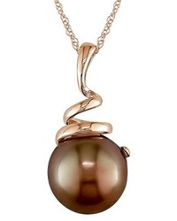 Allura 8 85mm Brown Tahitian Pearl Pendant Necklace In 10k Pink Gold
