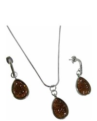 Fashionjewelryforeveryone brown vermeil pear cut pendant cute party favors jewelry set medium 166680