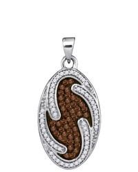 Sterling silver Ladies 10k White Gold 050 Ctw Brown Diamond Micro Pave Pendant