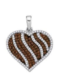 Sterling silver Ladies 10k White Gold 150 Ctw Brown Diamond Micro Pave Pendant