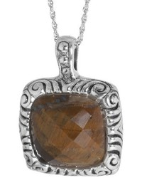 Sterling Silver Square Faceted Tigers Eye Pendant Silverbrown