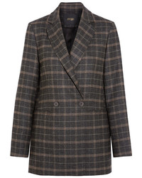 Dark Brown Plaid Blazer