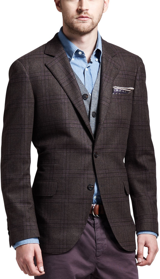 Brunello Cucinelli Glen Plaid Sport Coat Brown | Where to buy ...