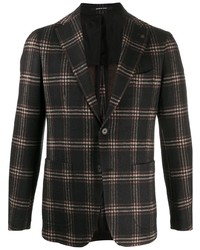 Tagliatore Long Sleeve Plaid Check Blazer