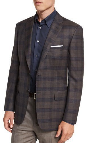 Brioni Plaid Two Button Sport Jacket Brown | Where to buy & how to ...