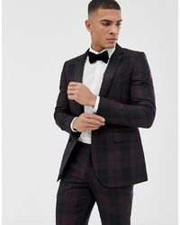 Burton Menswear Tuxedo Suit Jacket In Red Tartan