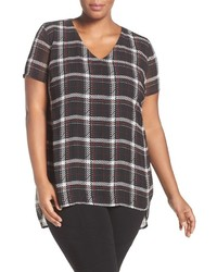 Vince Camuto Plus Size Harbour Plaid Short Sleeve V Neck Blouse