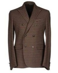 Dark Brown Plaid Double Breasted Blazer