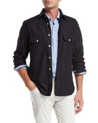 Kiton Plaid Wool Cashmere Overshirt