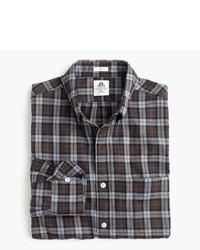 Slim for jcrew flannel shirt in brown plaid medium 956817