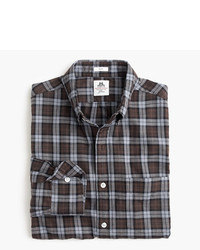 J.Crew Slim Thomas Mason For Flannel Shirt In Brown Plaid