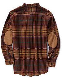 Daniel Cremieux Cremieux Long Sleeve Woven Plaid Shirt With Elbow Patches