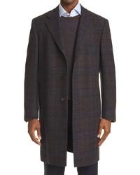 Canali Plaid Wool Cashmere Top Coat