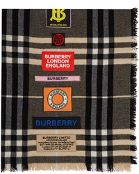 Burberry Brown Giant Check Logo Patch Scarf