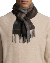 Cashmere large plaid scarf blackbrown medium 388612