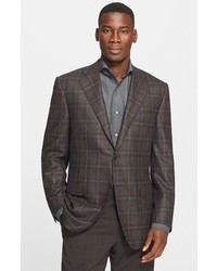 Dark Brown Plaid Wool Blazer