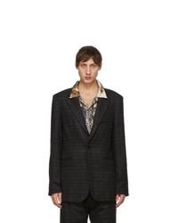 Serapis Brown Brushed Wool Check Blazer