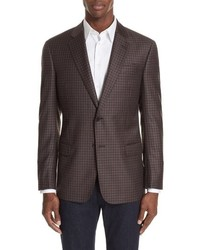 Emporio Armani G Line Trim Fit Plaid Wool Sport Coat