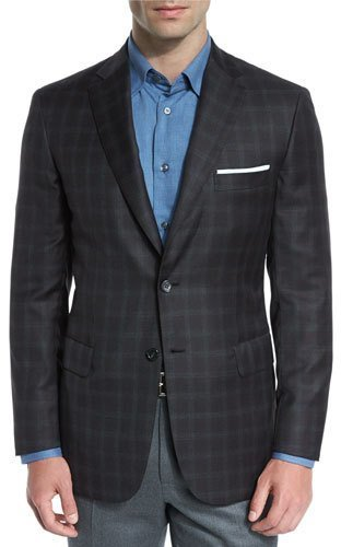 Brioni Plaid Wool Two Button Sport Coat Brown
