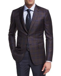Brioni Plaid Wool Two Button Sport Coat