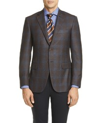 Canali Sienna Soft Classic Fit Plaid Silk Wool Sport Coat
