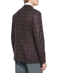 Isaia Wool Plaid Sport Coat Grayred