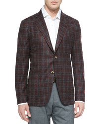 Wool Plaid Sport Coat Grayred