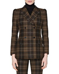 SUISTUDIO Alex Plaid Double Breasted Roped Shoulder Wool Cashmere Jacket