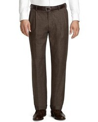 Dark Brown Plaid Wool Dress Pants