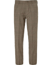 Dark Brown Plaid Wool Dress Pants for Men | Men's Fashion