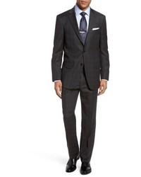 New york classic fit plaid wool suit medium 4949542