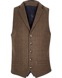 Dark Brown Plaid Wool Waistcoat