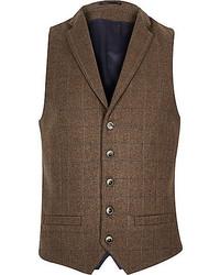 River Island Brown Check Wool Blend Slim Vest