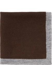 Isaia Birdseye Knit Pocket Square Brown