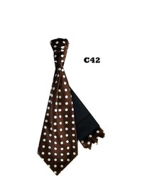 TheDapperTie Brown And White Polka Dots Cravats With Pre Fold Pocket Square C42