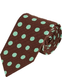 Alexander Olch Polka Dot Seersucker Neck Tie Brown