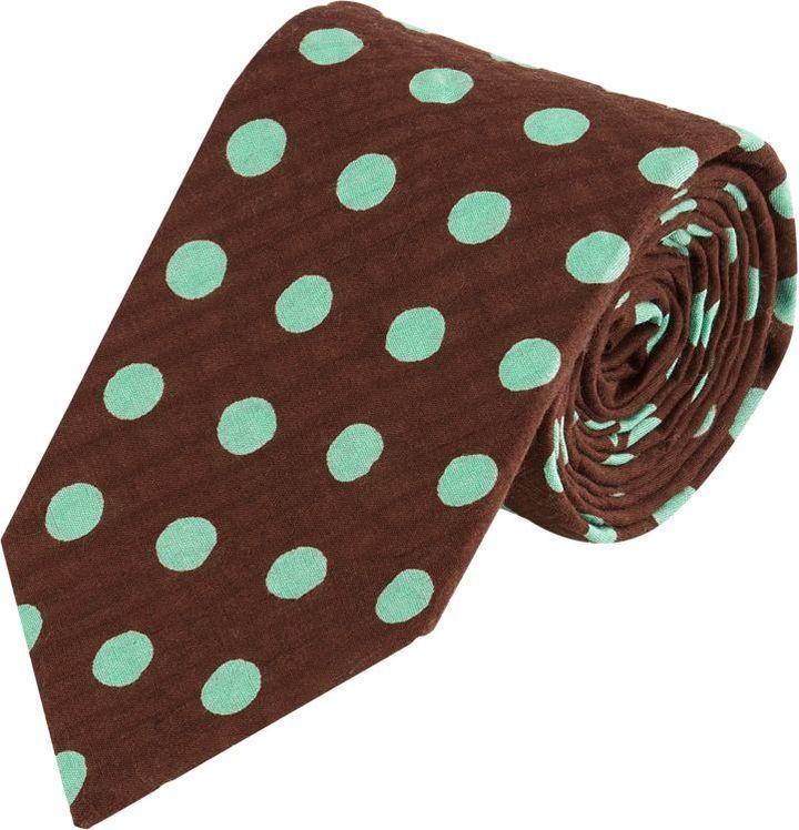 Alexander Olch Polka Dot Seersucker Neck Tie Brown