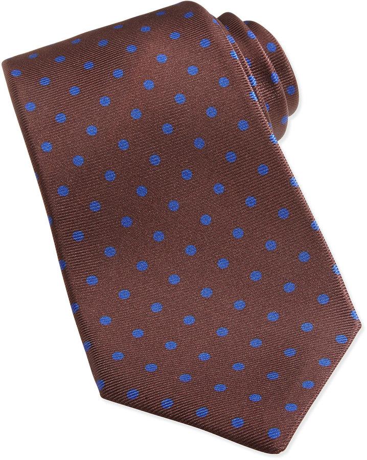 Kiton Polka Dot Pattern Tie Brownblue