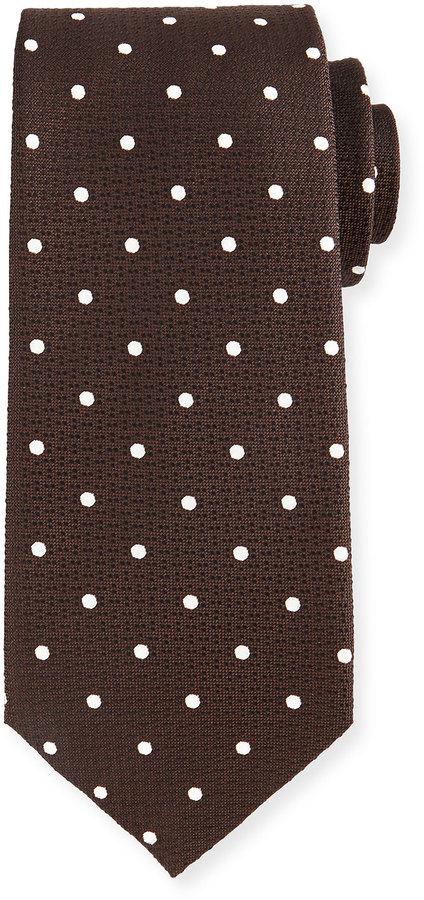 Tom Ford Polka Dot Print Tie Brownwhite